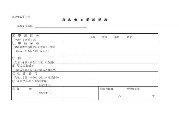 ①指名参加願総括表(様式1)のサムネイル